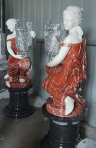 Women Holding Urns in Multi Colored Marble  Set of 2  17585