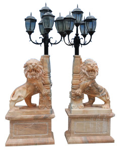 Standing Lion Exterior Lamps in Sunglow Marble Set of 2 17632