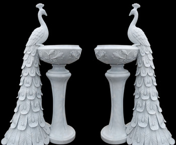 Peacock Planters in White Marble   Set of 2   17637