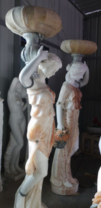 Women Holding Planters in Multi Colored Marble  Set of 2  17907