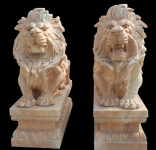 Pair of Sitting Lions on Pedestals in Sunglow Marble 17932