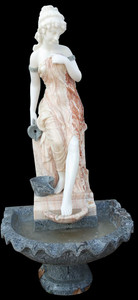 Woman at Fountain in Multi Colored Marble 18027