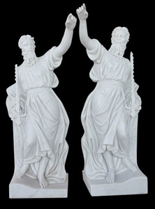 Prophets on Base in White Marble  Set of 2  18080