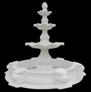 3 Tier Fountain in White Marble    18143
