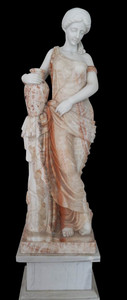 Woman with Urn on Base in Multi Colored Marble  18152