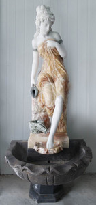 Woman in Fountain in Multi Colored Marble 18161