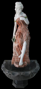 Woman in Fountain in Multi Colored Marble   18163
