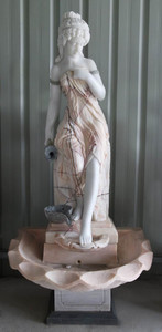 Woman in Fountain in Multi Colored Marble   18177