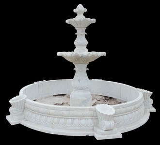 3 Tier Fountain in White Marble    18184