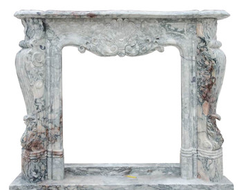 Fireplace Mantel in Gray Marble BOX DIM 29x31    18185