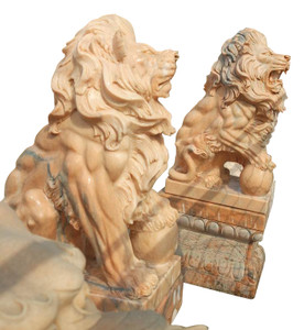 Sitting Lions with Ball in Sunglow Marble  Set of 2  18212