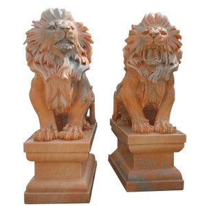 Sitting Lions on Base in Sunglow Marble    Set of 2   18220