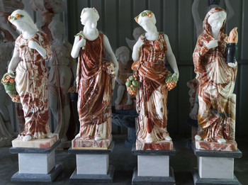 Four Seasons on Base in Multi Colored Marble 18230