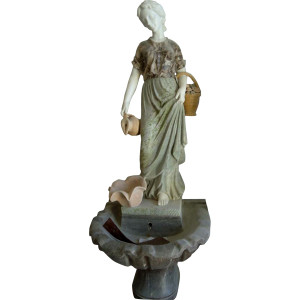 Women Holding Jug Fountain  Multi Colored Marble  9632