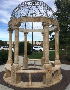 Stainless Steel Domed Gazebo Golden Travertine YS003