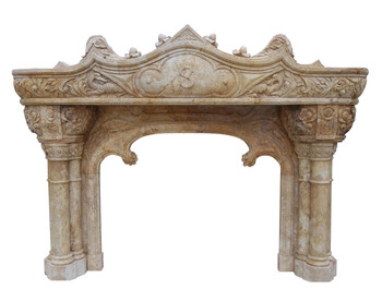 Gothic TwoTier Mantel 48Wx36H Box Area Travertine YS005