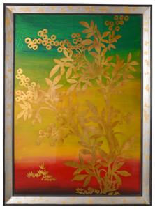 Golden Burgandy Leafed Wall Art Mirrored