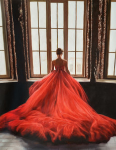 Red Dress in Window Gallery Wrap