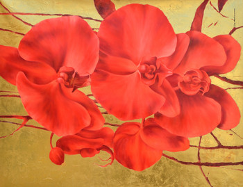 Red Bloom on Gold Gallery Wrap