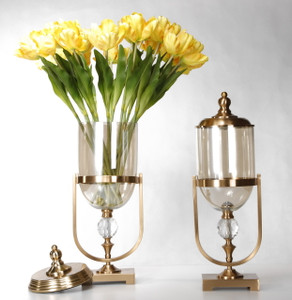 Gold Set Of Two Lidded Vases
