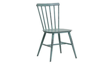 Lath Back Steel Chair Retro Blue