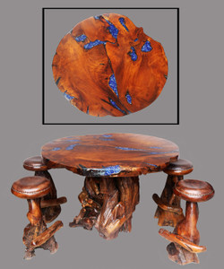 One of a Kind Teak Obsidian Bar Table Set of 5