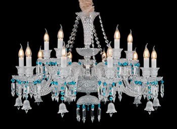 "38"" DIA Maria Theresa Blue Sapphire 15 Light Crystal Chandelier Ceiling Pendant"