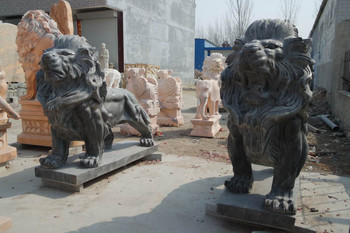 Pair of Marble Lions Black Marble GE18219