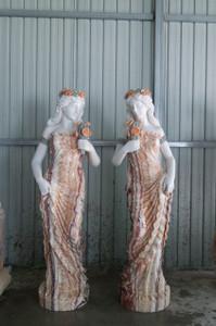 Marble Pair Of Girds Statues GE18502