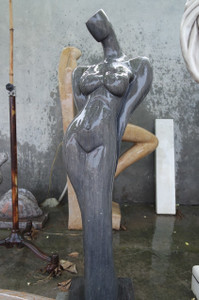 Abstract Woman Black Marble Statue GE18708