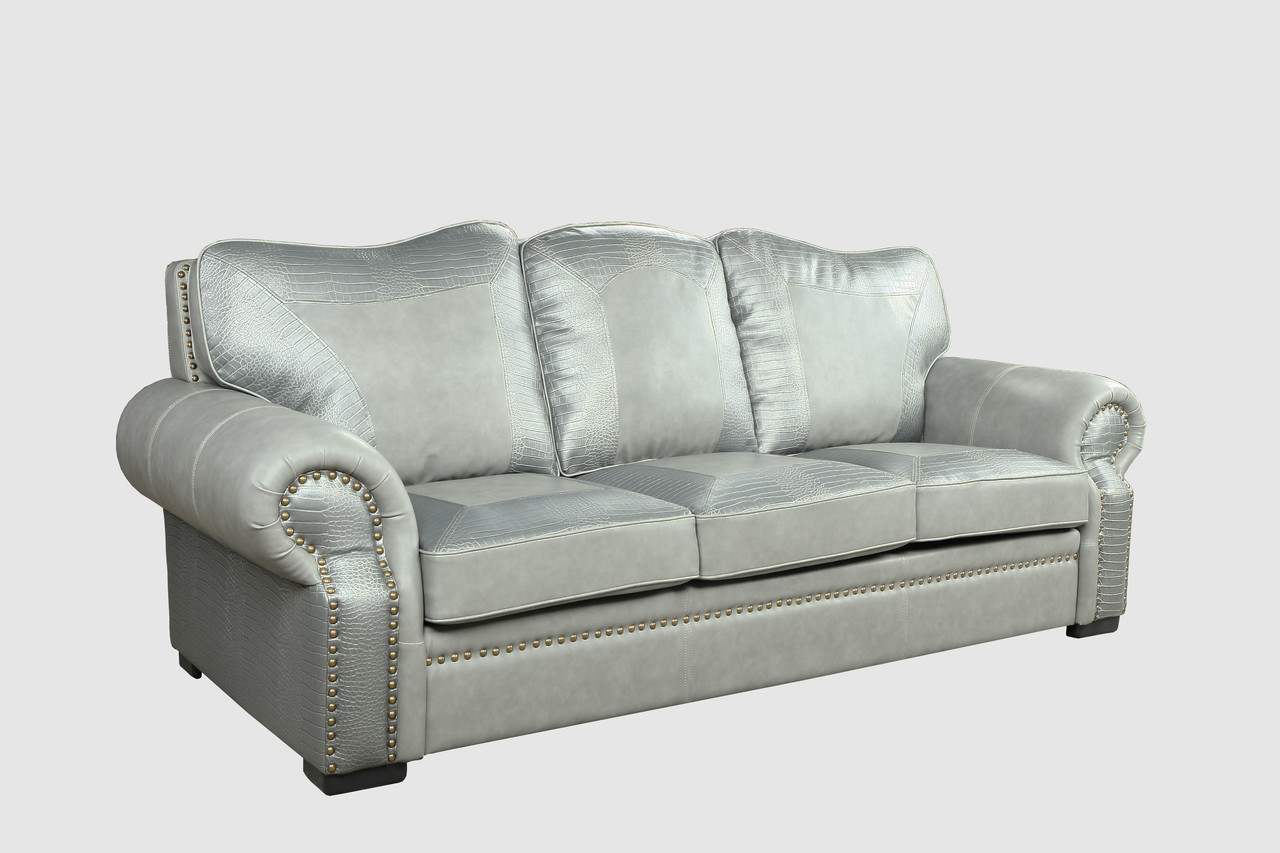 Botswana Croc And Leather Grey Sofa - World of Decor