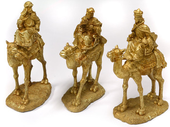 Gold Gilt Three Kings on Camels Table Statues Christmas Decoration