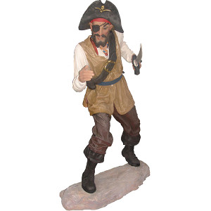 Pirate One Eye With Base Statue Fiberglass Novelty Collectable Decor