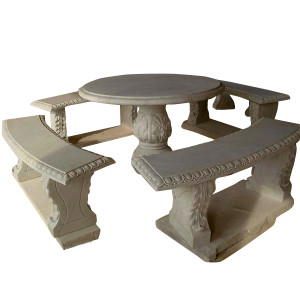 White Marble Patio Set