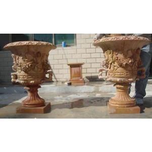 Beige Marble Urns- Pair