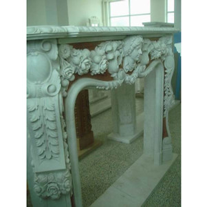 Ornate Red Inset Marble Mantel