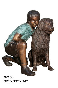 "34""H Boy Sitting With Dog Bronze Statue Garden Sculpture"