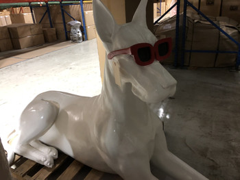 White Great Dane With Red Sunglasses White Statue Fiberglass Novelty Collectable