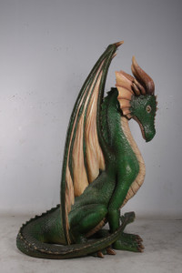 Sitting Dragon 7 Ft Fiberglass Novelty Collectable Decor