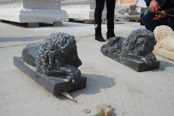 Pair Black Marble Lying Lions 18268
