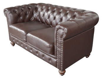 Classic Chesterfield Loveseat Brown