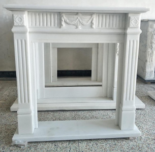 Clean White Marble Mantel T7118