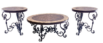 Peruvian Iron Round Cocktail Table Set of 3