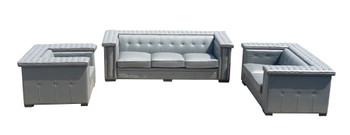 Micro Leather Gray Bench Sofa Set of 3