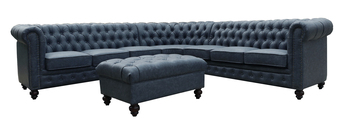Classic Chesterfield Grey Blue Sectional