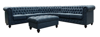 Classic Chesterfield Gray Blue Sectional