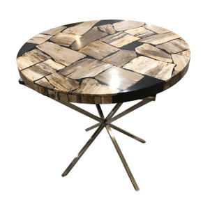 Petrified Wood And Resin 150 Dia Table With Stainless Legs