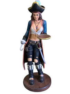 Sexy Female Pirate with Tray Statue