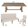 Inverness Farmhouse Bench Dining Table Set of 7
