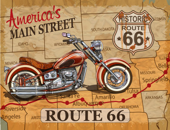 Route 66 AmericaÂ's Historic Main Street Map Gallery Wrap